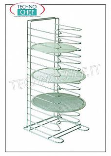 Tabletop pastry / pizza nets rack, art. AC-PRO Vertical pizza table rack-holders with 15 SUPPORTS pitch 35 mm, for 15 nets up to 36 cm diameter, dim.mm.300x300x650h, price each - Buyable in a pack of 4