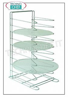 Tabletop pastry / pizza nets rack, art. AC-PRO2 Vertical pizza table rack-nets with 10 SUPPORTS 60 mm pitch, for 10 nets up to 36 cm in diameter and 50 cm in diameter, dim. mm. 340x400x650h, - Note: price each - Can be purchased in a pack of 4