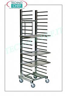 Pizza / pastry tray trolleys Peg tray trolley, in STAINLESS STEEL with tubular supports, pitch mm 100, capacity 15 trays, dim. external mm 510x500x1760h