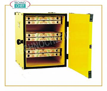 Pizza box, isothermal Pizza box with carton guides, thermally insulated, capacity 12 cartons of 330 mm, dim. 410x410x520h mm