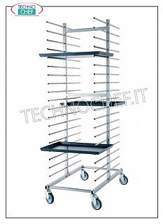 Pizza / pastry tray trolleys DOUBLE tray rack, in rungs, in galvanized iron with tubular supports, pitch mm 80, capacity 40 trays, dim. external mm 520x860x1730h