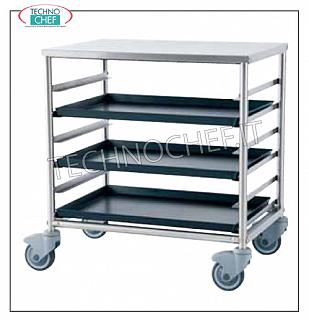 Pizza / pastry tray trolleys Tray trolley with top shelf, capacity 6 trays of 60x40 cm, dim. mm 690x480x715h