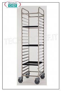 Pizza / pastry tray trolleys Stainless steel tray rack trolley with 20 runners, 80 mm pitch for 600x400 mm trays, short side insertion (400 mm), 20 tray capacity, dim. external mm 480x690x1840h
