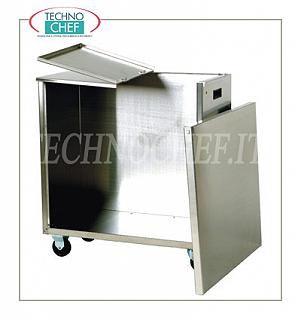 Hoppers on wheels for flour and sugar Hopper on wheels for flour in stainless steel, frontal shutter opening for the insertion of 2 bags of 25 kg, dim. 380x720x760h