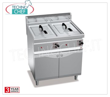 TECHNOCHEF - GAS FRYER on MOBILE, 2 tanks of 10 + 10 lt, Mod.GL10 + 10M GAS FRYER on MOBILE, BERTOS, MACROS 700 Line, TURBO Series, 2 independent tanks of lt.10 + 10, thermal power 13.8 kW, Weight 56 Kg, dim.mm.800x700x900h