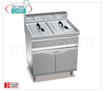 TECHNOCHEF - GAS FRYER on MOBILE, 2 tanks of lt.15 + 15, Mod.GL15 + 15M GAS FRYER on MOBILE, BERTOS, MACROS Line, TURBO Series, 2 independent tanks of lt.15 + 15, heat output Kw.25.4, Weight 60 Kg, dim.mm.800x700x900h