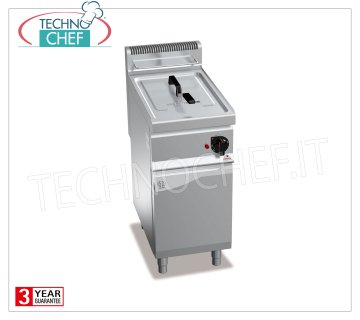 TECHNOCHEF - GAS FRYER on MOBILE, 1 lt.18 tank, Mod.GL18MI GAS FRYER on MOBILE, BERTOS, MACROS 700 Line, INDIRECT GAS FRY Series, 1 lt.18 tank, external burners, analog controls, heat output Kw.14, Weight 47 Kg, dim.mm.400x700x900h