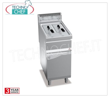 TECHNOCHEF - GAS FRYER on MOBILE, 2 tanks of lt.7 + 7, Mod.GL7 + 7M GAS FRYER on MOBILE, BERTOS, MACROS 700 Line, TURBO Series, 2 independent tanks of l.7 + 7, heat output Kw 9,2, Weight 45 Kg, dim.mm.400x700x900h