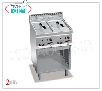 TECHNOCHEF - GAS FRYER on MOBILE, 2 independent tanks of lt.8 + 8, Mod.GL8 + 8M GAS FRYER on MOBILE, BERTOS, PLUS 600 Line, MULTIPAN Series, 2 independent tanks of lt.8 + 8, thermal power Kw.13.2, Weight 50 Kg, dim.mm.600x600x900h