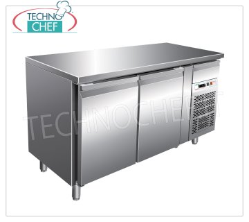 Forcar - Refrigerated Table Frigor 2 Doors, Temp. -2 ° / + 8 ° C, lt. 282, Ventilated, Class B, G-GN2100TN Refrigerated counter table 2 DOORS and neutral drawer, Professional, temp. -2 ° + 8 ° C, capacity 282 liters, ventilated refrigeration, Gastronorm 1/1, ECOLOGICAL in Class B, Gas R290, V.230 / 1, Kw.0.26, Weight 98 Kg, dim.mm.1360x700x860h