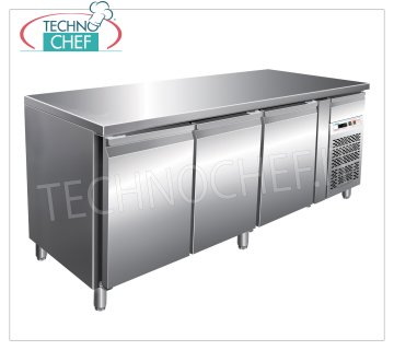 Forcar - 3 Doors Freezer Table, Temp. -18 ° / -22 ° C, lt. 417, Ventilated, Class D, model G-GN3100BT Table 3-door refrigerated counter and neutral drawer, Professional, capacity 417 liters, temperature -18 ° / -22 ° C, ventilated refrigeration, Gastronorm 1/1, ECOLOGICAL in Class D, Gas R290, V.230 / 1, Kw.0 , 57, Weight 136 Kg, dim.mm.1795x700x860h