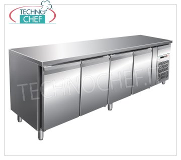 Forcar - Freezer 4 Doors Table, Temp. -18 ° / -22 ° C, lt. 553, Ventilated, Class D, model G-GN4100BT Refrigerated counter with 4 DOORS and neutral drawer, Professional, capacity 553 liters, temperature -18 ° / -22 ° C, ventilated refrigeration, Gastronorm 1/1, ECOLOGICAL in Class D, Gas R290, V.230 / 1, Kw.0 , 66, Weight 155 Kg, dim.mm.2230x700x860h