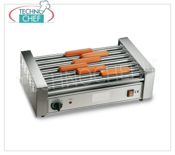 TECHNOCHEF - COOKERS Würstel 7 rolls of 46 cm, Mod GW7 COOKER frankfurters - 7-roller sausages in stainless steel, roller width 460 mm, diameter 25 mm, V.230 / 1, Kw. 1,4, Weight 11 Kg, dim.mm.560x300x170h