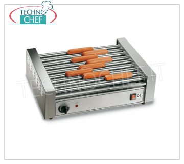 TECHNOCHEF - COOKERS Würstel 9 rolls of 46 cm, Mod GW9 Würstel Cooker - 9-roller sausages in stainless steel, roller width 460 mm, diameter 25 mm, V.230 / 1, Kw. 1.65, Weight 13 Kg, dim.mm.560x375x180h