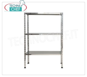 Stainless steel modular shelf unit, Smooth Shelves, Bolt Assembly - H 150