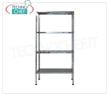 Stainless steel modular shelf unit, Smooth Shelves, Bolt Assembly - H 180