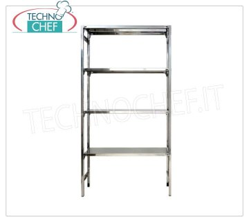 Stainless steel modular shelf unit, Smooth Shelves, Hook Assembly - H 180