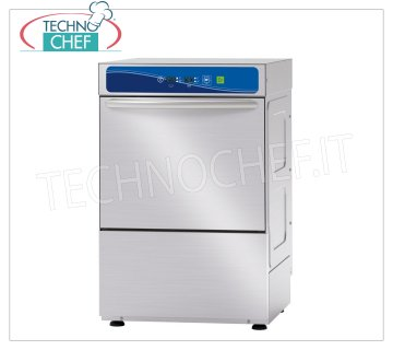 TECHNOCHEF - Professional Bar Glasswashers, 35x35 cm square basket, Electronic Controls STAINLESS STEEL GLASS WASHER 350x350 mm QUADRO basket, ELECTRONIC controls with DISPLAY, 4 cycles of 90/120/150/180 sec, max glasses height 240 mm, rinse aid dispenser and detergent Electrical, V 230/1, Kw 2,79, Weight 46 Kg , dim.mm.420x485x660h