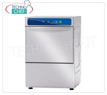 TECHNOCHEF - Professional Bar Glasswashers, 40x40 cm square basket, electronic controls GLASSWASHERS 400x400 mm QUADRO basket, ELECTRONIC controls with DISPLAY, 4 cycles of 90/120/150/180 sec, max glasses height 240 mm, rinse aid dispenser and electric detergent, V.230 / 1, Kw 2,79, Weight 44 Kg , dim.mm.470x535x660h.