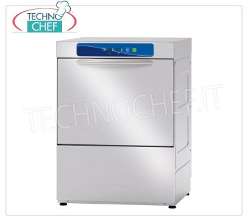 TECHNOCHEF - Professional Dishwasher, 50x50 cm square basket, electronic controls STAINLESS STEEL DISHWASHER SQUARE basket mm.500x500, front loading, DIGITAL controls, 4 cycles of 90/120/150/180 sec, max glasses height 32 cm / plates 35 cm, rinse aid dispenser and detergent Electrical, V. 230/1, Kw 3 , 12, Weight 69 Kg, dim.mm.585x610x815h