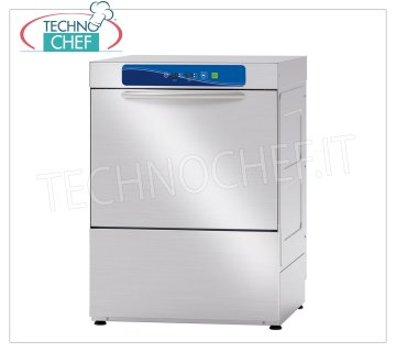 TECHNOCHEF - Professional Dishwasher, 50x50 cm square basket, electronic controls DISHWASHER square basket mm.500x500, front loading, ELECTRONIC controls with DISPLAY, 4 cycles of 90/120/150/180 sec, max glasses height 320 mm / plates 350 mm, rinse aid dispenser and detergent, V.400 / 3 + N, Kw 5.9, Weight 69 Kg, dim.mm.585x610x815h