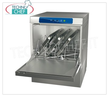 TECHNOCHEF - Dishwashers-dishwashers Undercounter Basket 50x60 cm DISHWASHER-WASHING TABLE undercounter with 50x60 cm basket, suitable for 60x40 cm trays, front loading, digital controls, 4 washing cycles, rinse aid dispenser and bowl cleaner, V.400 / 3 + N, Kw.6,52, Weight 84 Kg, dim.mm.585x715x865h
