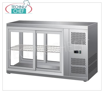FORCAR - REFRIGERATED DISPLAY CABINET, capacity lt.150, Ventilated, mod.G-HAV111 Refrigerated counter display case in stainless steel, VENTILATED refrigeration, temperature + 2 ° / + 8 ° C, capacity 150 lt, ECOLOGICAL Gas R600a, V.230 / 1, Kw 0.18, Weight 70 Kg, dim. external mm. 1110x510x550h
