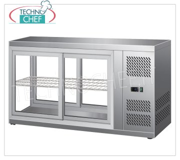 Forcar - REFRIGERATED DISPLAY CABINET, capacity lt. 190, Ventilated, mod.G-HAV131 Refrigerated counter display case in stainless steel, VENTILATED refrigeration, temperature + 2 ° / + 8 ° C, capacity lt. 190, ECOLOGICAL Gas R600a, V.230 / 1, Kw 0.18, Weight 72 Kg, dim. external mm. 1310x510x550h