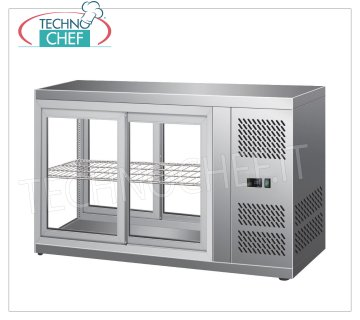 Forcar - REFRIGERATED DISPLAY CABINET, capacity 110 lt, Ventilated, mod.G-HAV91 Refrigerated counter display case in stainless steel, VENTILATED refrigeration, temperature + 2 ° / + 8 ° C, capacity 110 lt, ECOLOGICAL Gas R600a, V.230 / 1, Kw 0,18, Weight 59 Kg, dim. external mm. 910x510x550h