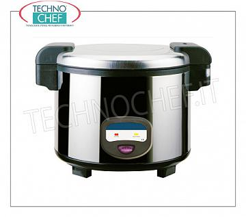 ELECTRIC COOKER for about 30 PORTIONS, capacity lt. 5.4 Electric rice cooker for about 30 portions, with automatic maintenance function at the end of cooking, capacity 5.4 liters, V.230 / 1, Kw.1,95, dim.mm.455x455x380h
