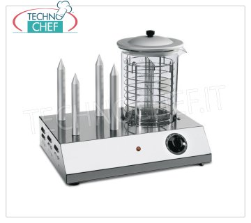 TECHNOCHEF - Hot Dog Machine with 4 Punches and Würstel warming cylinder, Mod.HOTDOGY09 / 4 Hot Dog Machine with 4 PUNCHES Warmers and cylinder Würstel steam heater, capacity 30 frankfurters, Adjustable power with simostat, V.230 / 1, Kw.0,6, Weight 9.5 Kg, dim.mm.450x320x365h