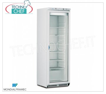 MONDIAL FRAMEC - Industrial-Professional Freezer wardrobe 1 glass door, lt.360, Mod.ICEPLUSN40 Fridge / Freezer cupboard 1 glass door, external structure in white steel sheet, capacity 360 lt, temperature -15 ° / -25 ° C, STATIC with FIXED GRID EVAPORATOR with CAPTURE BRINA, V.230 / 1, Kw 0, 52, Weight 95 Kg, dim.mm.600x620x1880h