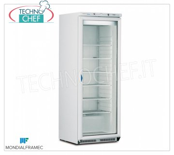 MONDIAL FRAMEC - Industrial-Professional Freezer wardrobe 1 glass door, lt.580, Mod.ICEPLUSN60 Fridge / Freezer cupboard 1 glass door, external structure in white steel sheet, capacity 580 lt, temperature -15 ° / -25 ° C, STATIC with FIXED GRID EVAPORATOR with CAPTURE BRINA, V.230 / 1, Kw 0, 82, Weight 125 Kg, dim.mm.775x740x1880