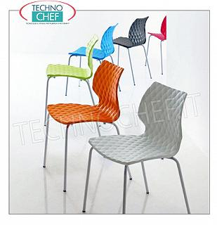 chairs CHAIR with SHELL in POLYPROPYLENE in the colors to be indicated (see table), frame with 4 legs in PAINTED STEEL tubular in the 15 colors of your choice (see table), METALMOBIL UNI collection, dim.mm.470x530x790h
