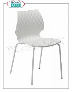 chairs CHAIR with BODY in WHITE POLYPROPYLENE, 4-leg frame in WHITE PAINTED STEEL tubular, METALMOBIL UNI collection, dim.mm.470x530x790h