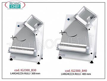 Pizza roller with 2 pairs of 300 mm inclined rollers, mod. 2300 / B30 STENDIPIZZA-PIADINA in WHITE STEEL varnished with 2 PAIRS of ADJUSTABLE INCLINED ROLLERS for MAXIMUM PRECISION, pizza / piadina diameter max. 300 mm, for small loaves of 50/700 grams, V 230/1, kw 0.50, dimensions mm 420x420x700h