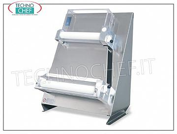 Rolls with 2 pairs of parallel rollers of 400 mm, mod. 2300 / L40P STENDIPIZZA-PIADINA in STAINLESS STEEL with 2 PAIRS OF ADJUSTABLE PARALLEL ROLLERS for MAXIMUM PRECISION of the desired thickness, pizza / piadina diameter max. 400 mm, for loaves of 50/1000 grams, V 230/1, kw 0.50, dimensions mm 520x520x690h