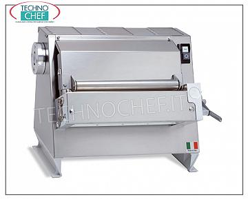 Sheeter for Fresh Pasta with 1 pair of 400 mm rollers DOUGH SHEETER for HIGH PRECISION PASTA with 1 PAIR of ROLLED STAINLESS STEEL ROLLS long MM. 400, PREPARED for application TAGLIASFOGLIA TOOLS, - V. 230/1 - Kw. 0,37 - weight Kg. 45 - dimensions mm. 520x520x800h