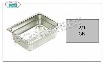 Gastronorm GN 2/1 containers in stainless steel Gastro-norm 2/1 tray, 18/10 stainless steel, dim.mm 650 x 530 x 20 h