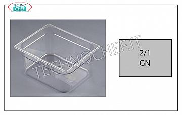 Gastronorm tray GN 2/1 in polycarbonate Gastro-Norm basin 2/1 in polycarbonate, capacity lt.58.4 dim. mm 650 x 530 x 200 h