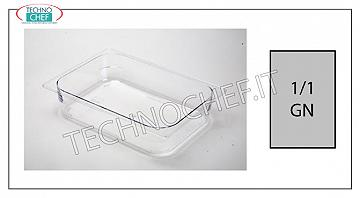 Gastronorm GN 1/1 containers in polycarbonate Gastro-norm 1/1 tray in polycarbonate, capacity 9,2 lt, dim.mm.530 x 325 x 65 h