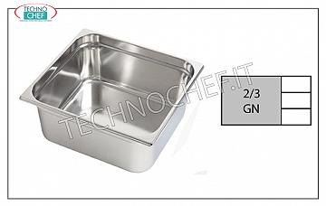 Gastronorm GN 2/3 containers in stainless steel Gastro-norm 2/3 tray, 18/10 stainless steel, dim.mm 353 x 325 x 20 h