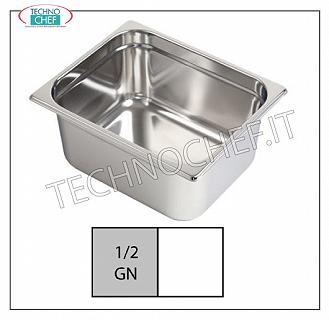 Gastro-norm stainless steel basin Gastro-norm 1/2 bowl, 18/10 stainless steel, lt.9,7 capacity, dim.mm 325 x 265 x 150 h