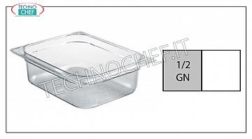 Gastronorm 1/2 containers in polycarbonate Gastro-norm 1/2 tray in polycarbonate, capacity lt. 4,1, dim.mm.325 x 265 x 65 h