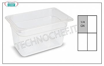 Gastronorm GN 1/4 containers in polypropylene Gastro-norm 1/4 container, in polypropylene, dim.265 x 162 x 65 h
