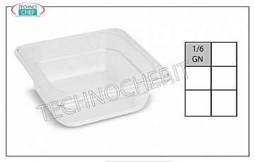 Gastronorm GN 1/6 tray in polypropylene Gastronorm 1/6 tray, in polypropylene, dim. Mm.176 x 162 x 65 h