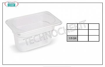 Gastronorm GN 1/9 containers in polypropylene Gastro-norm container 1/9, in polypropylene, dim.mm.176 x 108 x 65 h