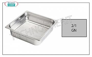 Perforated Gastronorm 2/1 stainless steel containers Gastro-norm 2/1 tray, perforated, 18/10 stainless steel, dim. 650 x 530 x 20 h