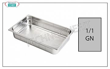Gastronorm 1/1 perforated trays in stainless steel Gastro-norm 1/1 tray, perforated, 18/10 stainless steel, dim.mm. 530 x 325 x 20 h