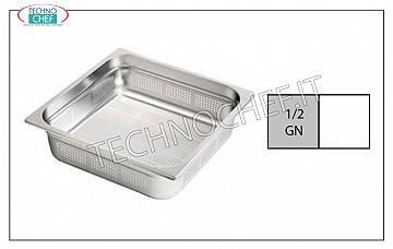 Perforated GN 1/2 stainless steel containers Gastro-norm 1/2 tray, perforated, 18/10 stainless steel, dim. 325 x 265 x 20 h